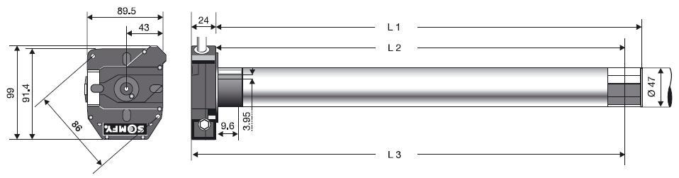 размер двигателя somfy nhk